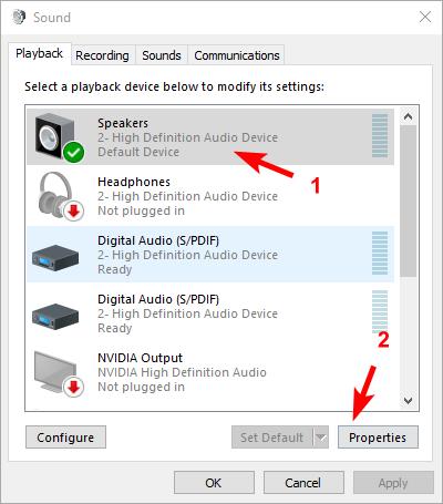 変更スピーカーのサウンドフォーマットのWindows 10