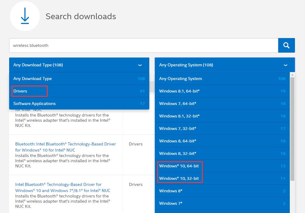 download drivers intel nuc