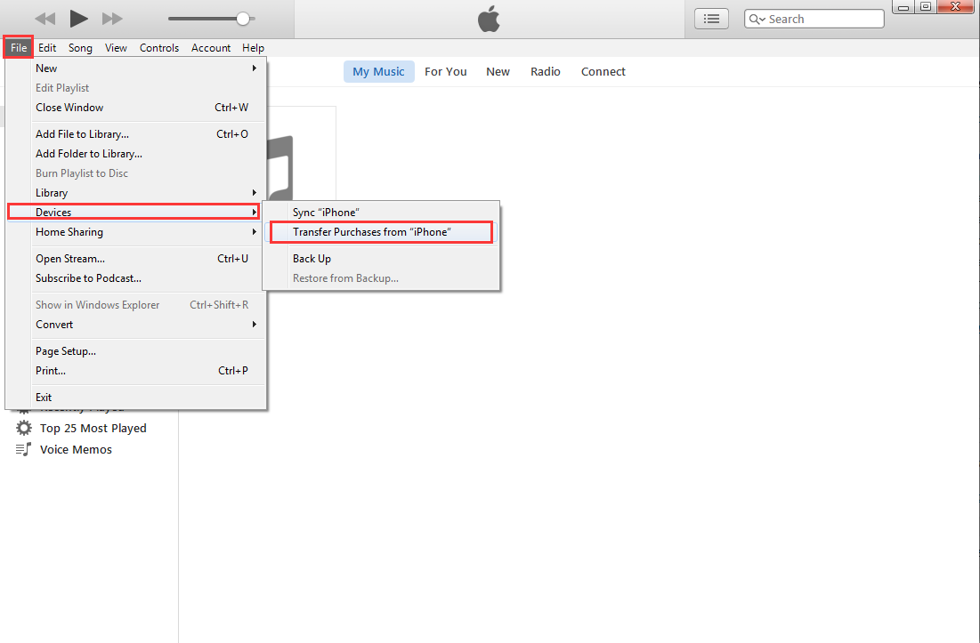 Transfer purchase iTune