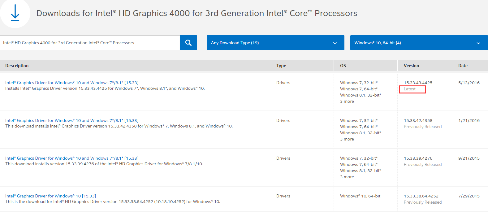 intel hd graphics 4000 driver not working