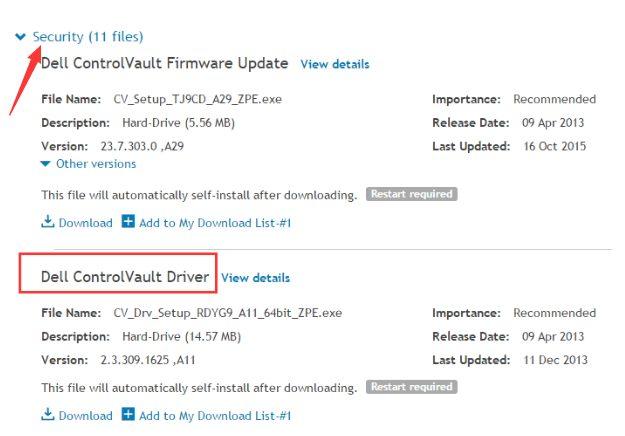 Dell ControlVault Driver