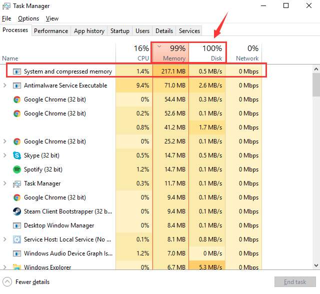 computer high disk usage windows 10