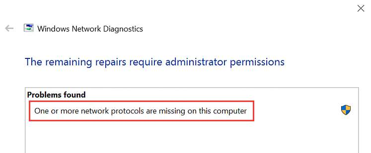 one or more network protocols are missing on this computer win 10 fix