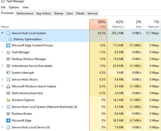 windows 10 system cpu usage high
