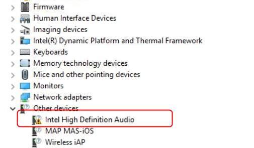 intel display audio driver problem