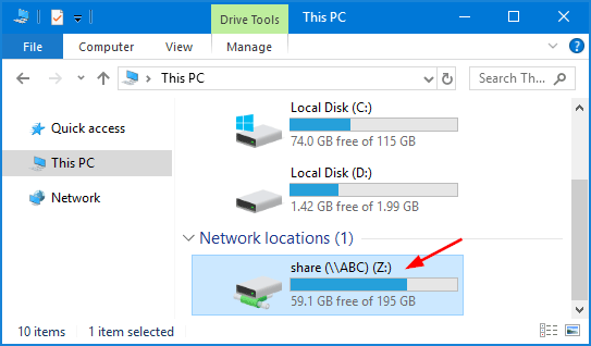 how to setup map network drive in windows 10 pc