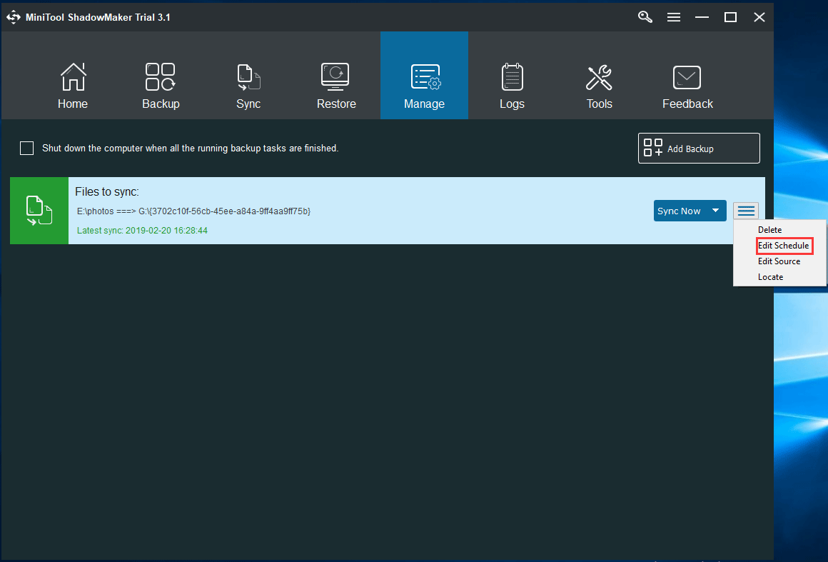 automatically sync files or folders in Manage page
