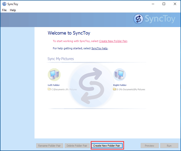 create new folder pair SyncToy