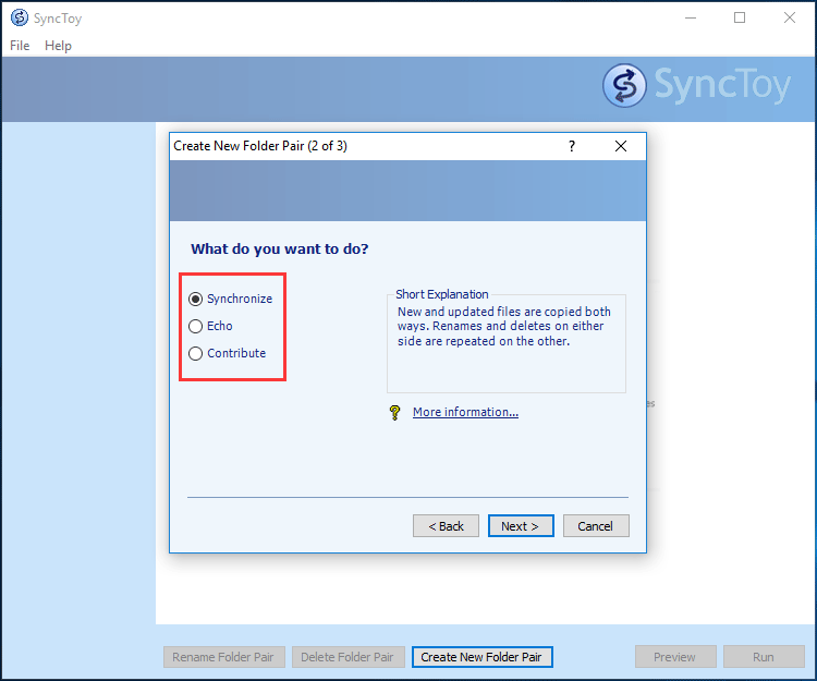 SyncToy offers three sync options