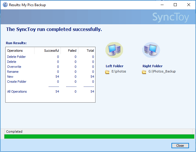 Windows 10 SyncToy run completed successfully